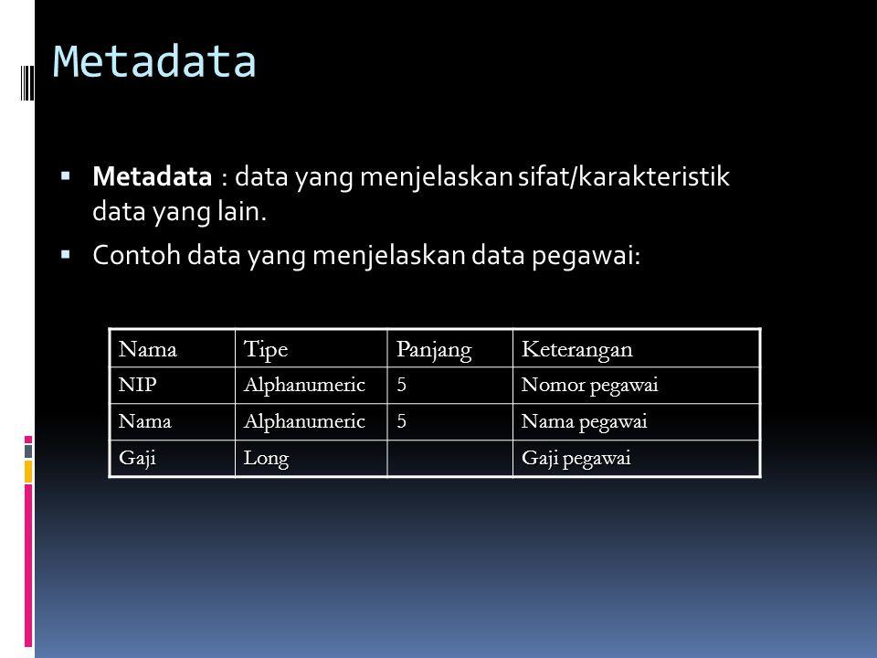 Metadata  Metadata : data yang menjelaskan sifat/karakteristik data yang lain.