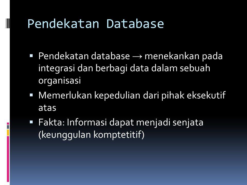 Pendekatan Database  Pendekatan database → menekankan pada integrasi dan berbagi data dalam sebuah organisasi  Memerlukan kepedulian dari pihak eksekutif atas  Fakta: Informasi dapat menjadi senjata (keunggulan komptetitif)