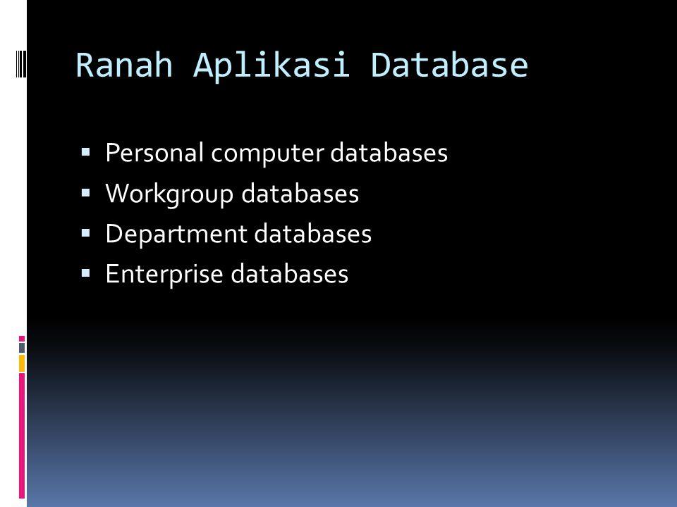 Ranah Aplikasi Database  Personal computer databases  Workgroup databases  Department databases  Enterprise databases
