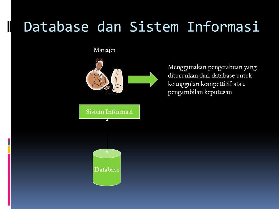 Database dan Sistem Informasi Manajer Sistem Informasi Database Menggunakan pengetahuan yang diturunkan dari database untuk keunggulan kompettitif atau pengambilan keputusan