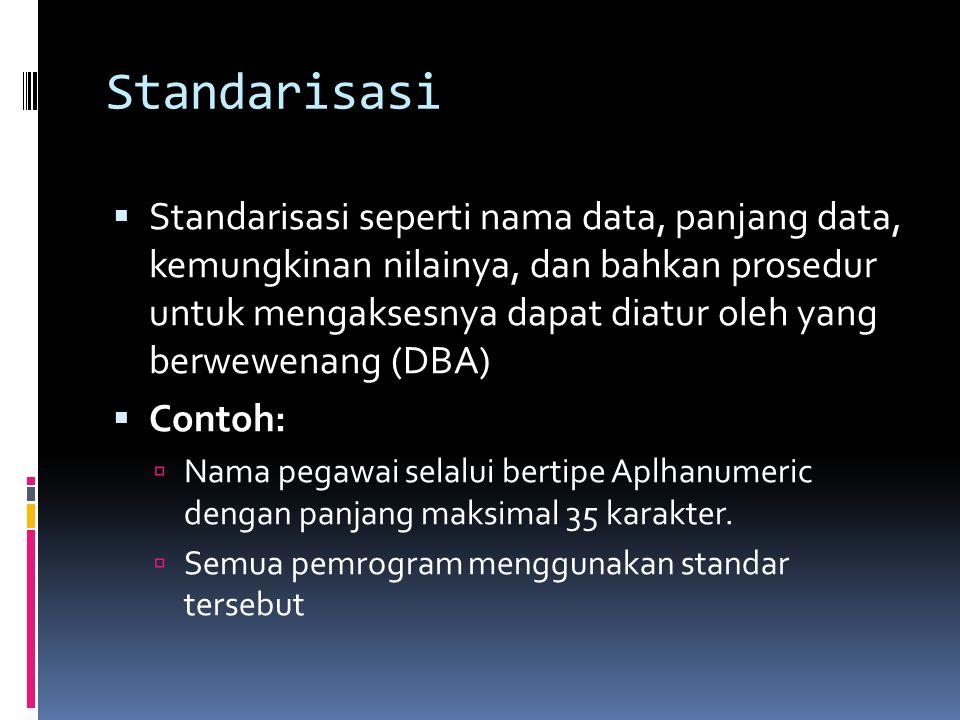 Standarisasi  Standarisasi seperti nama data, panjang data, kemungkinan nilainya, dan bahkan prosedur untuk mengaksesnya dapat diatur oleh yang berwewenang (DBA)  Contoh:  Nama pegawai selalui bertipe Aplhanumeric dengan panjang maksimal 35 karakter.