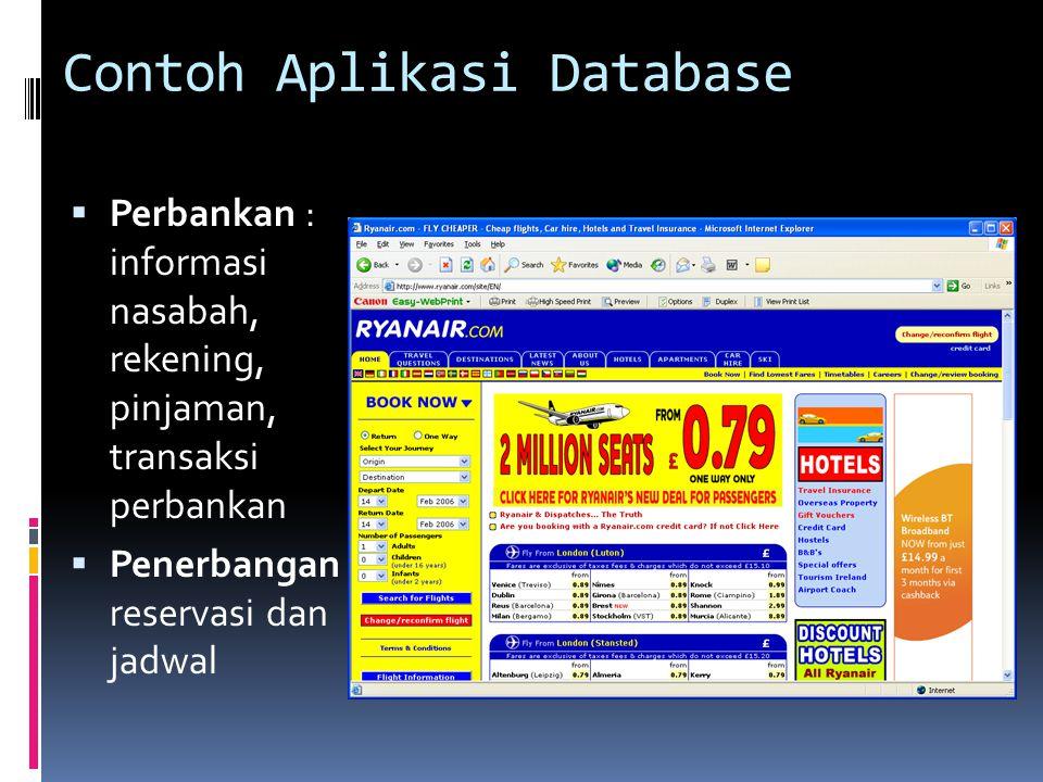 Contoh Aplikasi Database  Perbankan : informasi nasabah, rekening, pinjaman, transaksi perbankan  Penerbangan : reservasi dan jadwal