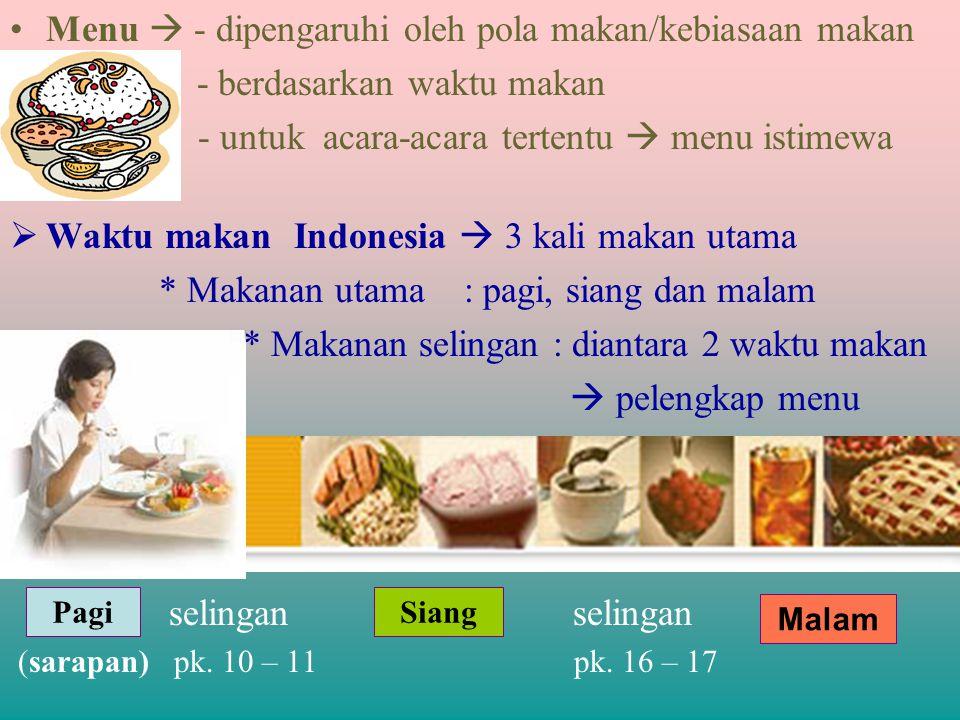 Menu  - dipengaruhi oleh pola makan/kebiasaan makan - berdasarkan waktu makan - untuk acara-acara tertentu  menu istimewa  Waktu makan Indonesia 