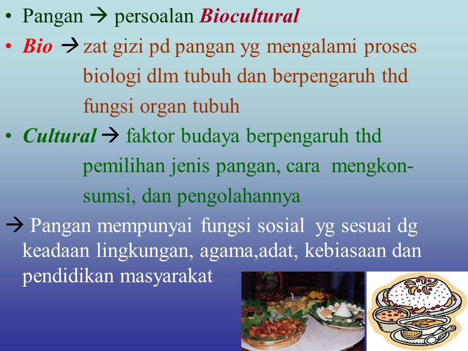Pangan  persoalan Biocultural Bio  zat gizi pd pangan yg mengalami proses biologi dlm tubuh dan berpengaruh thd fungsi organ tubuh Cultural  faktor