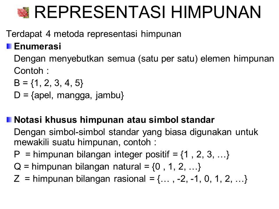 Notasi pembentuk himpunan Dengan menyebutkan sifat atau syarat keanggotaan dari himpunan.