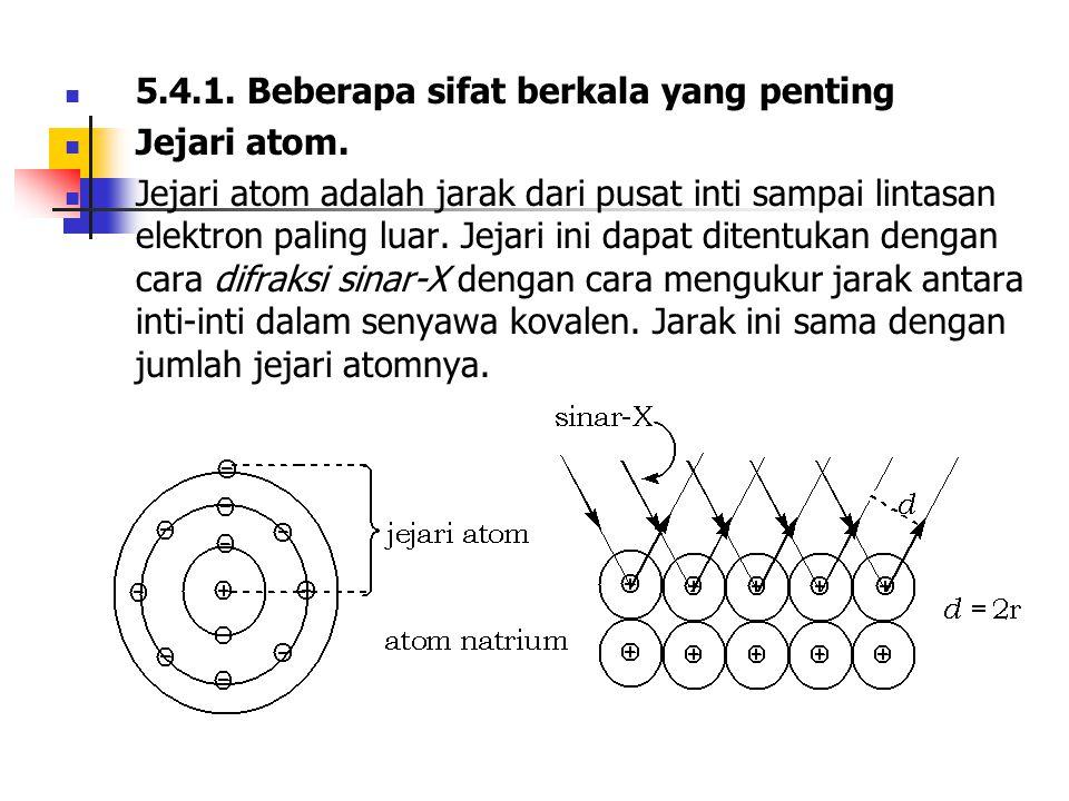 5.4.1. Beberapa sifat berkala yang penting Jejari atom. Jejari atom adalah jarak dari pusat inti sampai lintasan elektron paling luar. Jejari ini dapa