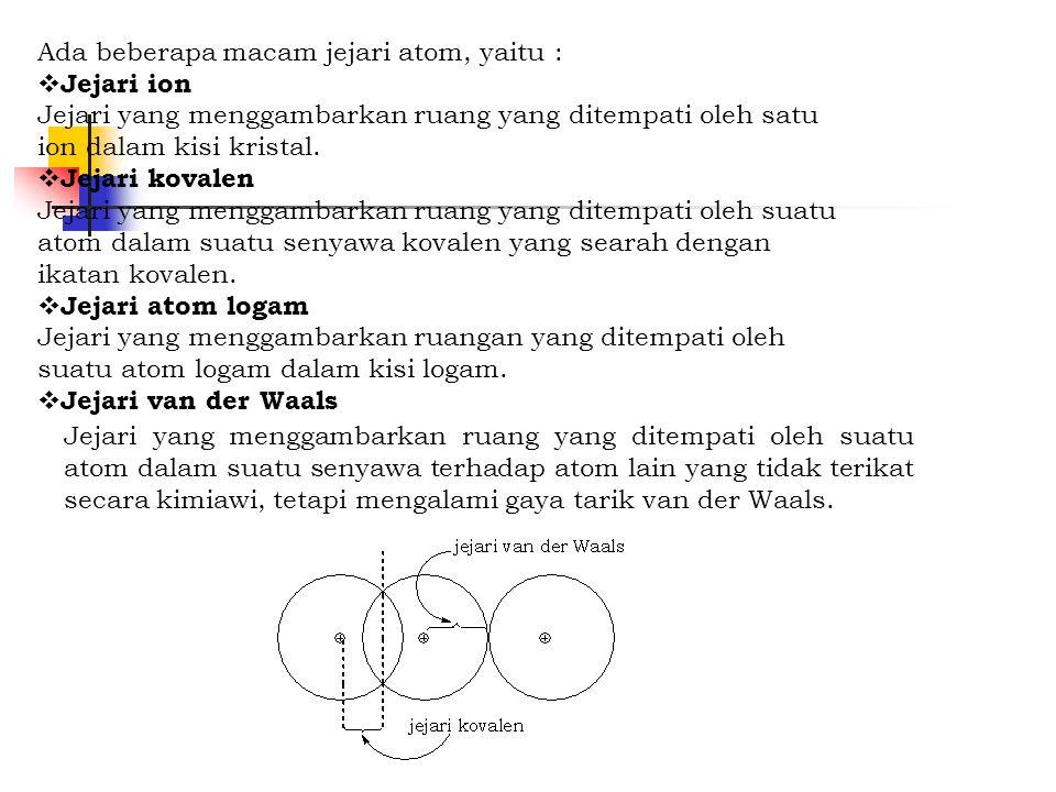 Ada beberapa macam jejari atom, yaitu :  Jejari ion Jejari yang menggambarkan ruang yang ditempati oleh satu ion dalam kisi kristal.  Jejari kovalen