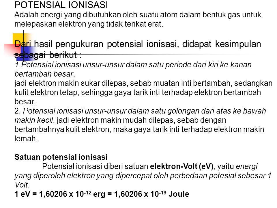 POTENSIAL IONISASI Adalah energi yang dibutuhkan oleh suatu atom dalam bentuk gas untuk melepaskan elektron yang tidak terikat erat. Dari hasil penguk