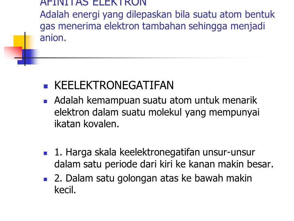 KEELEKTRONEGATIFAN Adalah kemampuan suatu atom untuk menarik elektron dalam suatu molekul yang mempunyai ikatan kovalen. 1. Harga skala keelektronegat