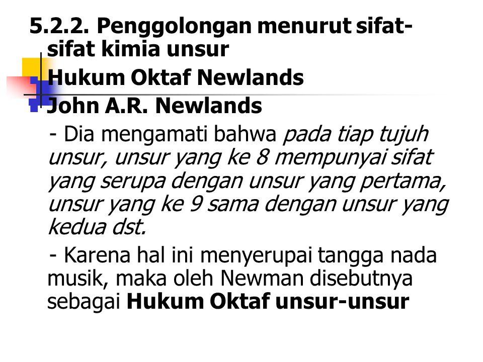 5.2.2. Penggolongan menurut sifat- sifat kimia unsur Hukum Oktaf Newlands John A.R. Newlands - Dia mengamati bahwa pada tiap tujuh unsur, unsur yang k