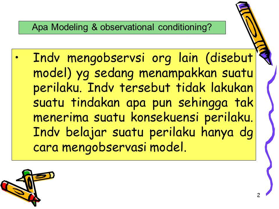 2 Indv mengobservsi org lain (disebut model) yg sedang menampakkan suatu perilaku. Indv tersebut tidak lakukan suatu tindakan apa pun sehingga tak men