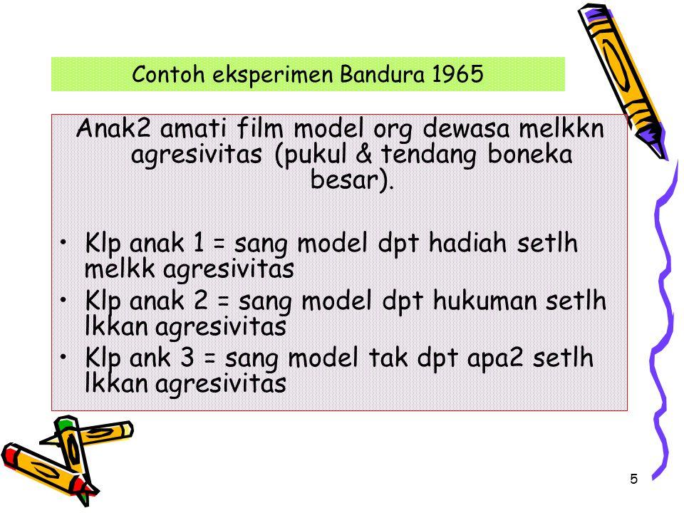 5 Contoh eksperimen Bandura 1965 Anak2 amati film model org dewasa melkkn agresivitas (pukul & tendang boneka besar). Klp anak 1 = sang model dpt hadi