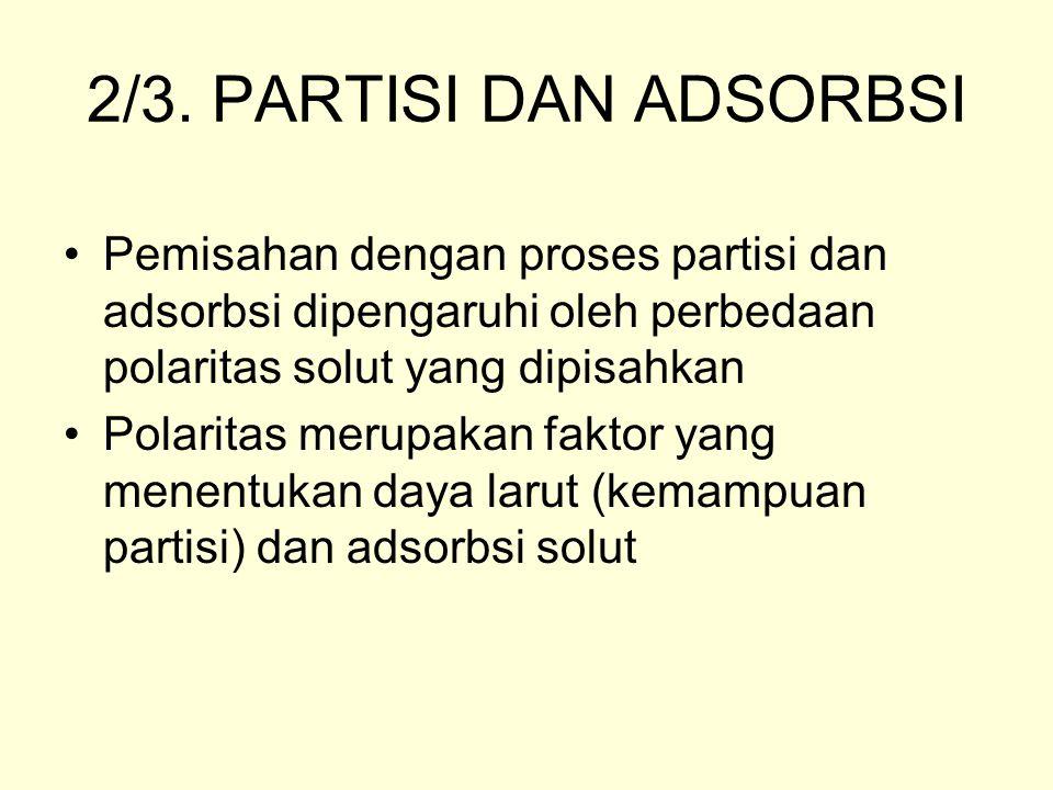2/3. PARTISI DAN ADSORBSI Pemisahan dengan proses partisi dan adsorbsi dipengaruhi oleh perbedaan polaritas solut yang dipisahkan Polaritas merupakan