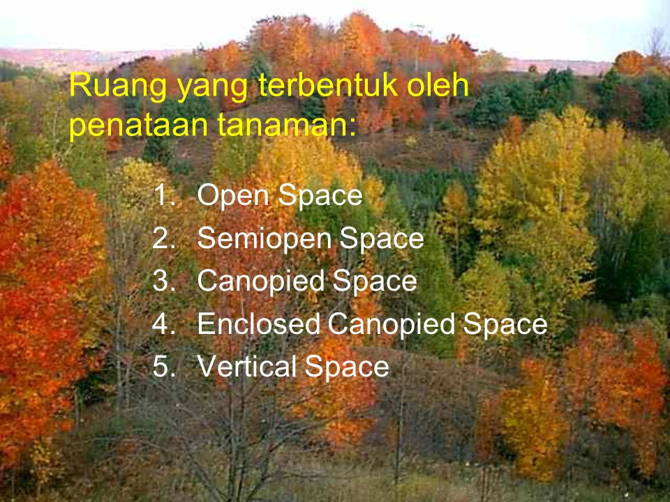 Ruang yang terbentuk oleh penataan tanaman: 1.Open Space 2.Semiopen Space 3.Canopied Space 4.Enclosed Canopied Space 5.Vertical Space