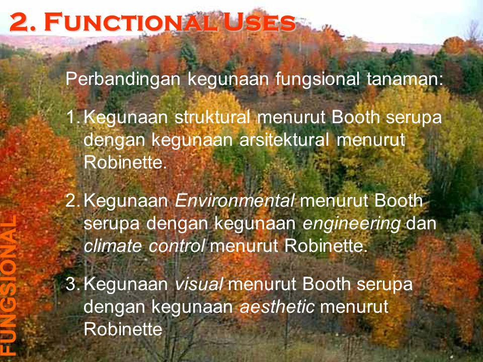 Tabel di bauah ini merupakan perbandingan dari dua cara klaifikasi fungsi tanaman: StructuralEnvironmentalVisual Architectural * ☼ Engineering * ☼ Climate Control * ☼ Aesthetic * ☼ Keterangan: Terminologi yang bertanda * merupakan klasifikasi Robinette.