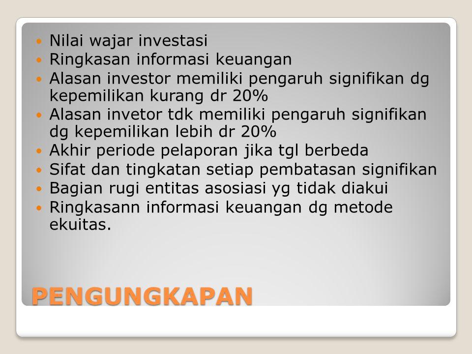 PENGUNGKAPAN Nilai wajar investasi Ringkasan informasi keuangan Alasan investor memiliki pengaruh signifikan dg kepemilikan kurang dr 20% Alasan invet