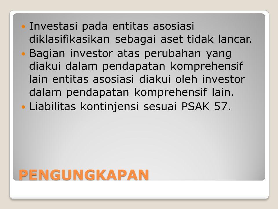 PENGUNGKAPAN Investasi pada entitas asosiasi diklasifikasikan sebagai aset tidak lancar.