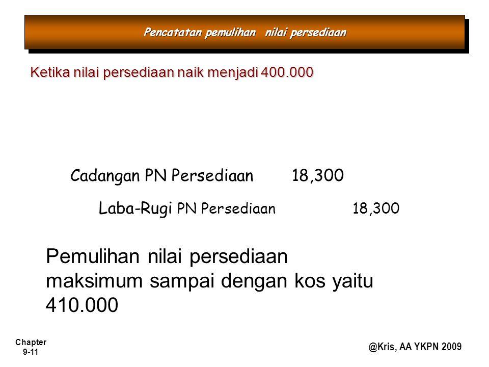 Chapter 9-11 @Kris, AA YKPN 2009 Ketika nilai persediaan naik menjadi 400.000 Cadangan PN Persediaan 18,300 Laba-Rugi PN Persediaan 18,300 Pemulihan n