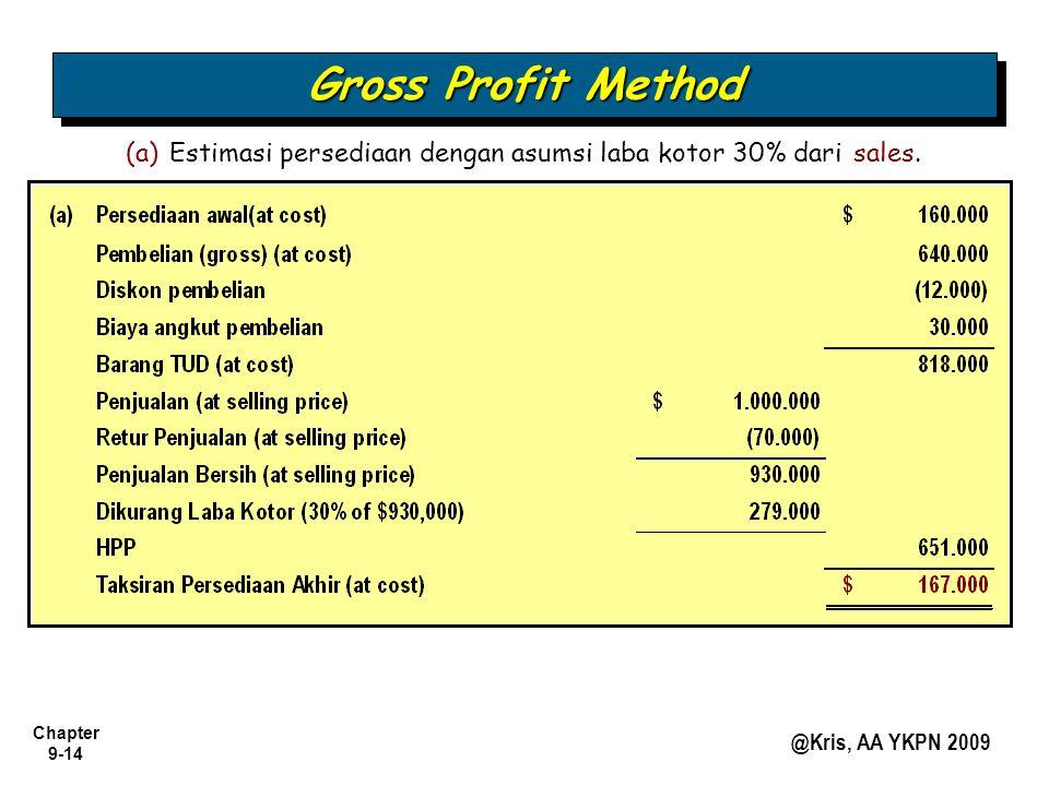Chapter 9-14 @Kris, AA YKPN 2009 (a) Estimasi persediaan dengan asumsi laba kotor 30% dari sales.