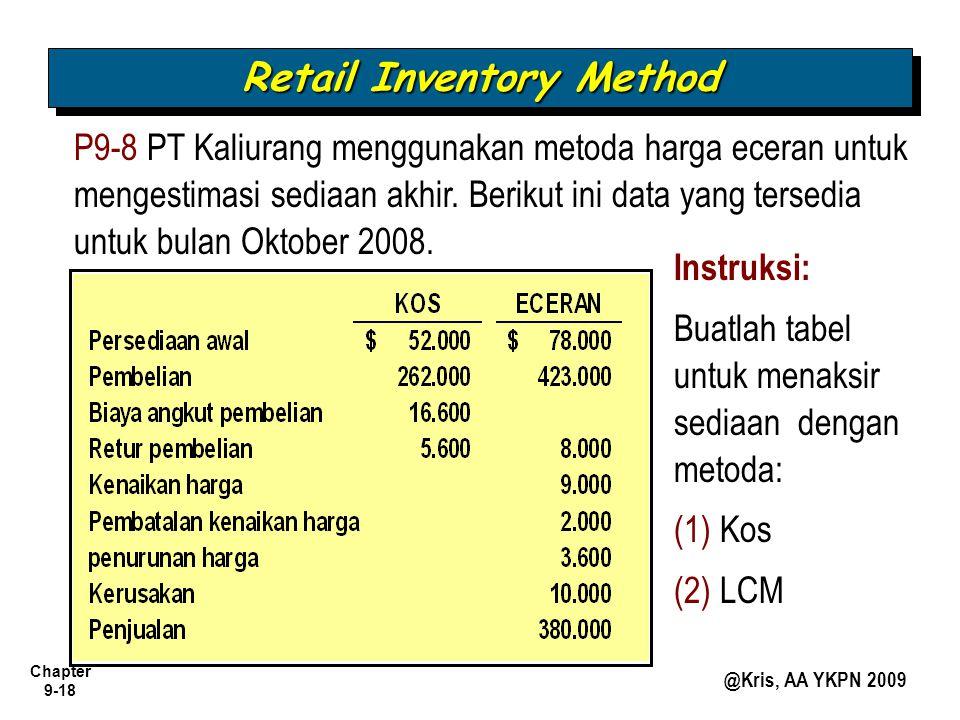 Chapter 9-18 @Kris, AA YKPN 2009 P9-8 PT Kaliurang menggunakan metoda harga eceran untuk mengestimasi sediaan akhir. Berikut ini data yang tersedia un