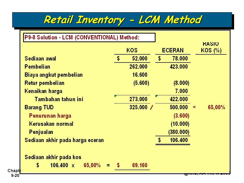 Chapter 9-20 @Kris, AA YKPN 2009 Retail Inventory - LCM Method = /