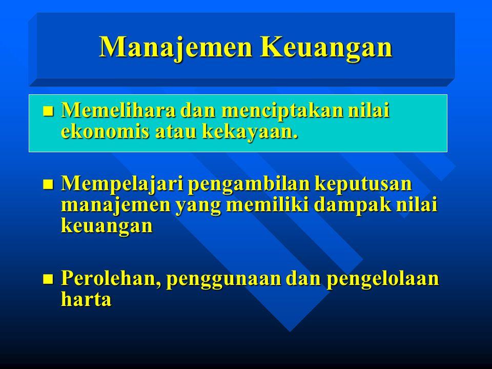 Manajemen Keuangan n Memelihara dan menciptakan nilai ekonomis atau kekayaan.