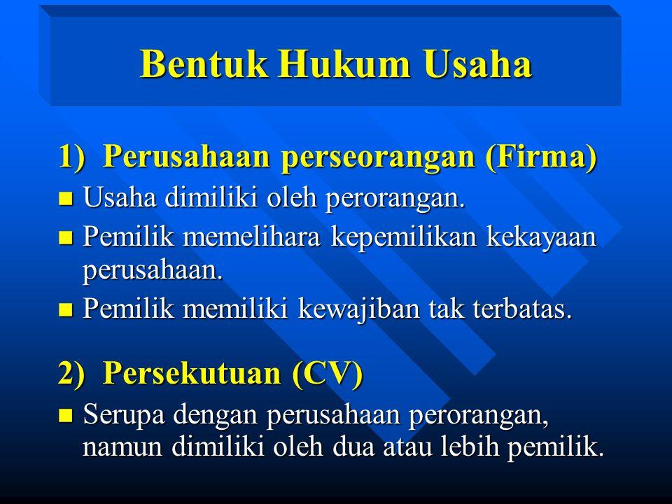 Bentuk Hukum Usaha 1) Perusahaan perseorangan (Firma) n Usaha dimiliki oleh perorangan. n Pemilik memelihara kepemilikan kekayaan perusahaan. n Pemili