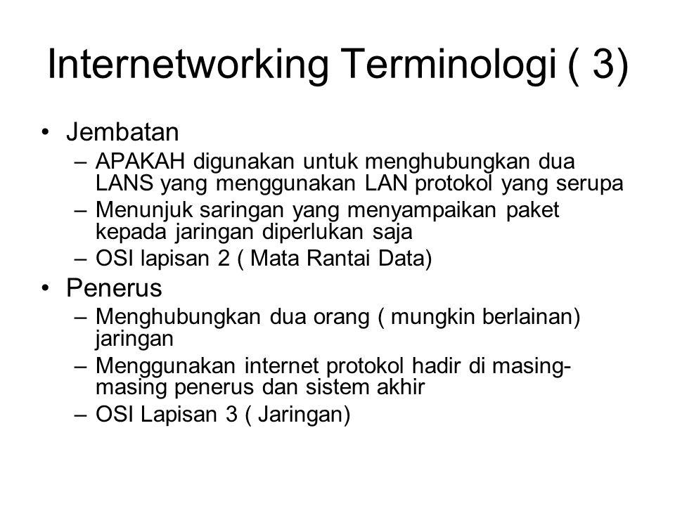 Internetworking Terminologi ( 3) Jembatan –APAKAH digunakan untuk menghubungkan dua LANS yang menggunakan LAN protokol yang serupa –Menunjuk saringan yang menyampaikan paket kepada jaringan diperlukan saja –OSI lapisan 2 ( Mata Rantai Data) Penerus –Menghubungkan dua orang ( mungkin berlainan) jaringan –Menggunakan internet protokol hadir di masing- masing penerus dan sistem akhir –OSI Lapisan 3 ( Jaringan)