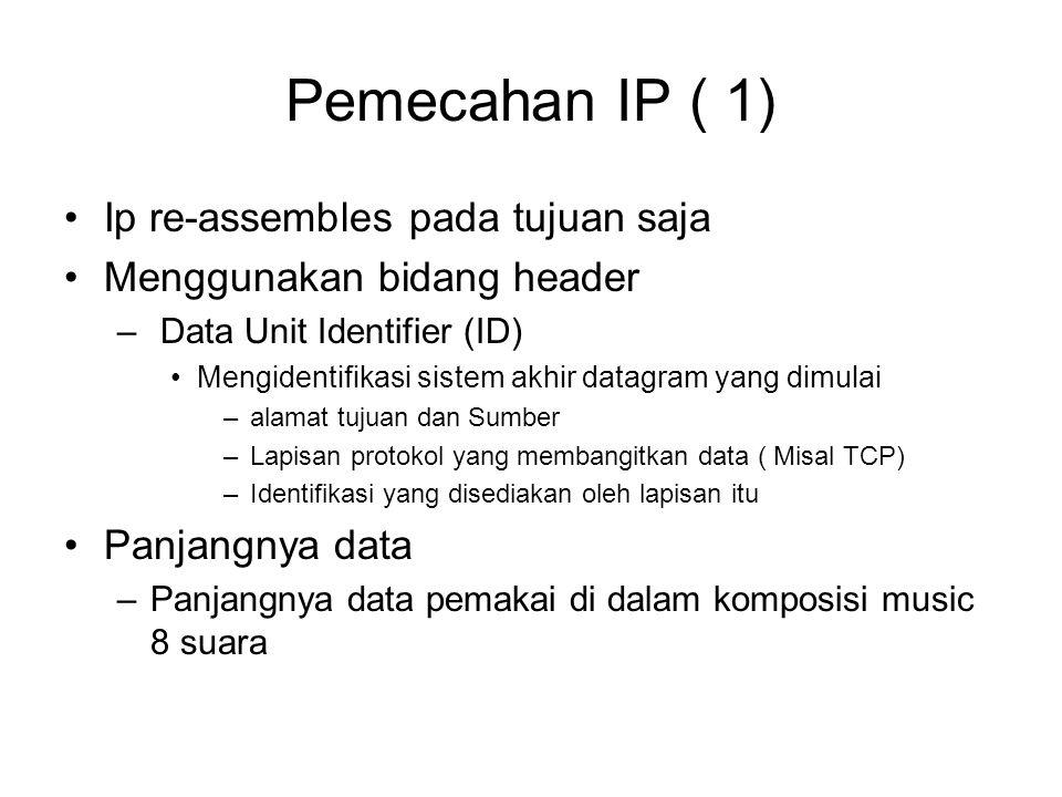 Pemecahan IP ( 1) Ip re-assembles pada tujuan saja Menggunakan bidang header – Data Unit Identifier (ID) Mengidentifikasi sistem akhir datagram yang dimulai –alamat tujuan dan Sumber –Lapisan protokol yang membangitkan data ( Misal TCP) –Identifikasi yang disediakan oleh lapisan itu Panjangnya data –Panjangnya data pemakai di dalam komposisi music 8 suara