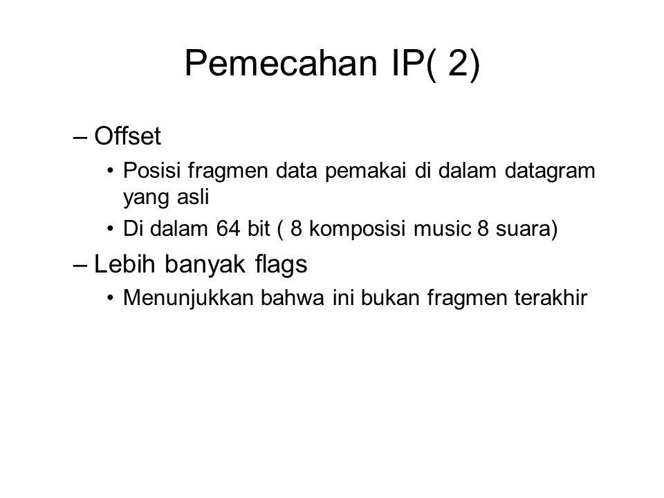 Pemecahan IP( 2) –Offset Posisi fragmen data pemakai di dalam datagram yang asli Di dalam 64 bit ( 8 komposisi music 8 suara) –Lebih banyak flags Menunjukkan bahwa ini bukan fragmen terakhir