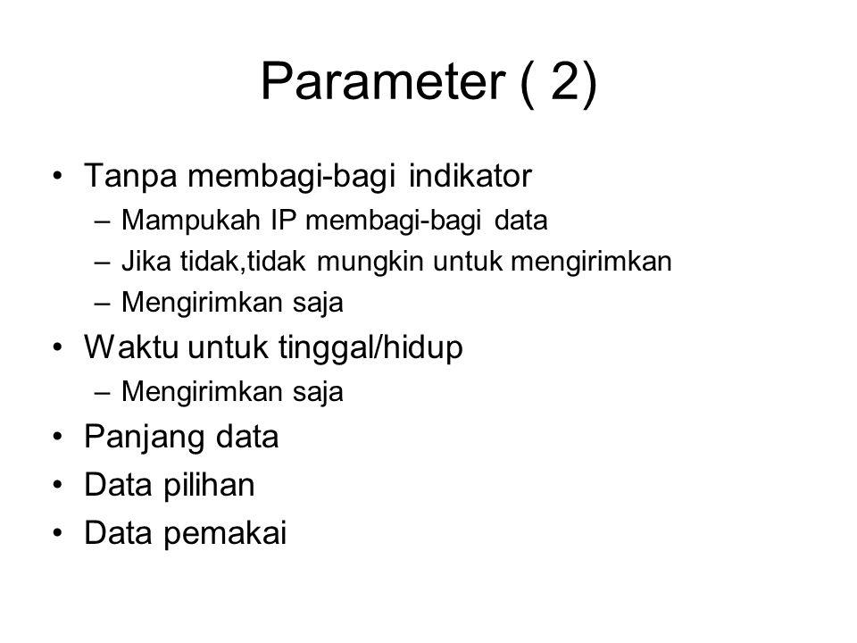 Parameter ( 2) Tanpa membagi-bagi indikator –Mampukah IP membagi-bagi data –Jika tidak,tidak mungkin untuk mengirimkan –Mengirimkan saja Waktu untuk tinggal/hidup –Mengirimkan saja Panjang data Data pilihan Data pemakai
