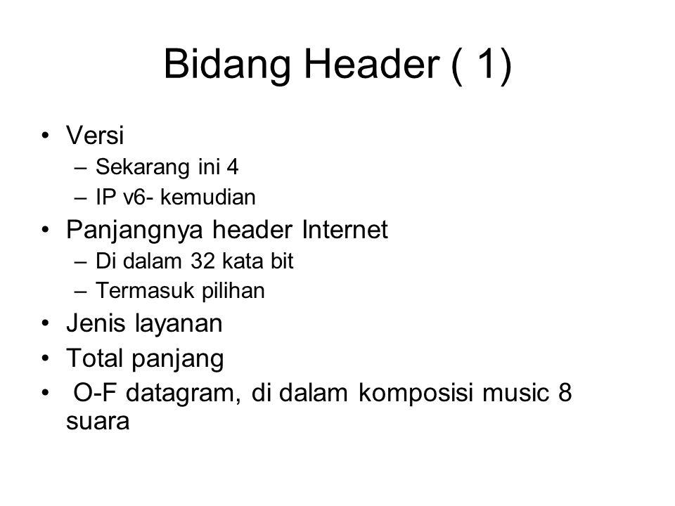 Bidang Header ( 1) Versi –Sekarang ini 4 –IP v6- kemudian Panjangnya header Internet –Di dalam 32 kata bit –Termasuk pilihan Jenis layanan Total panjang O-F datagram, di dalam komposisi music 8 suara