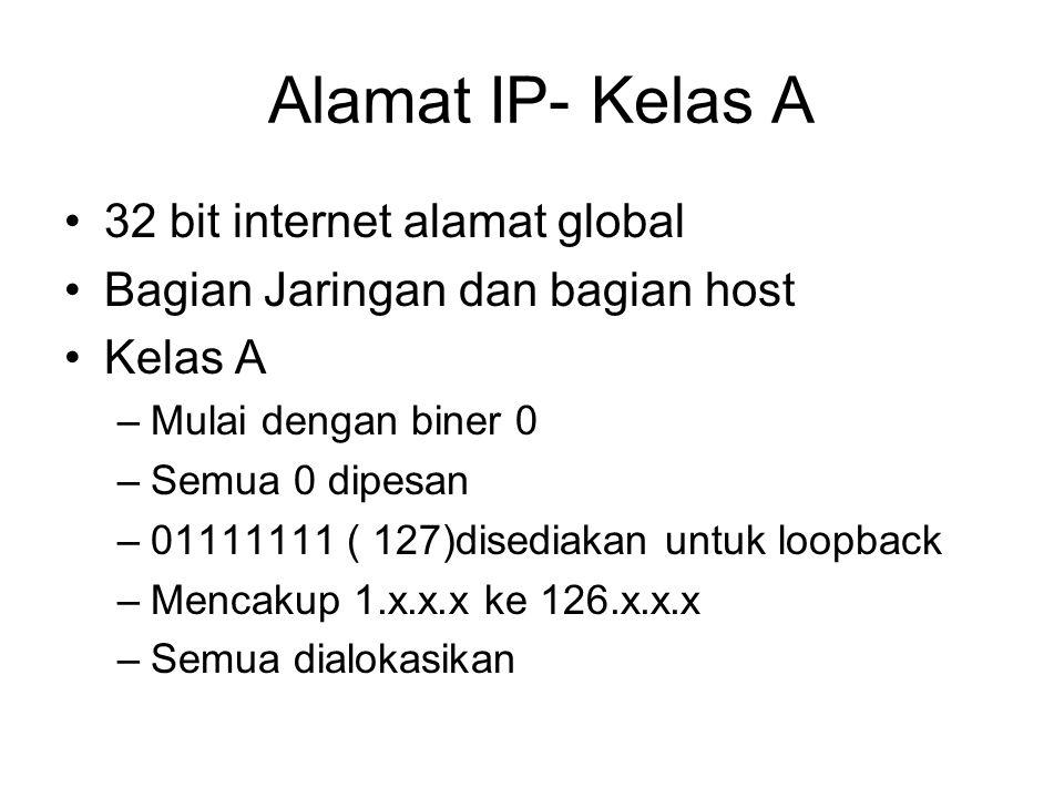 Alamat IP- Kelas A 32 bit internet alamat global Bagian Jaringan dan bagian host Kelas A –Mulai dengan biner 0 –Semua 0 dipesan –01111111 ( 127)disediakan untuk loopback –Mencakup 1.x.x.x ke 126.x.x.x –Semua dialokasikan