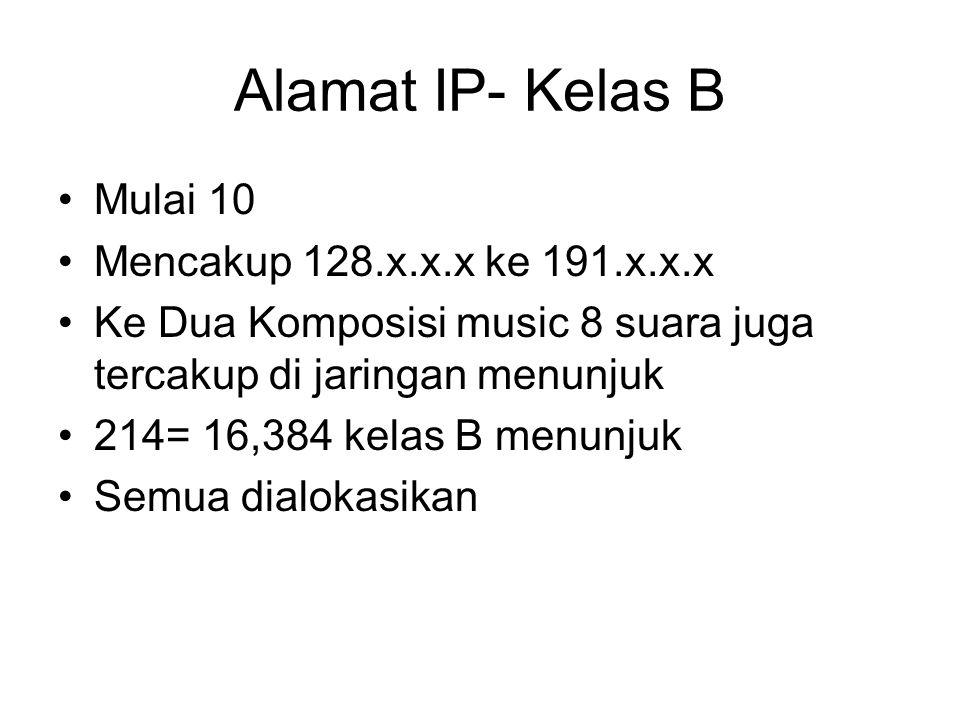 Alamat IP- Kelas B Mulai 10 Mencakup 128.x.x.x ke 191.x.x.x Ke Dua Komposisi music 8 suara juga tercakup di jaringan menunjuk 214= 16,384 kelas B menunjuk Semua dialokasikan