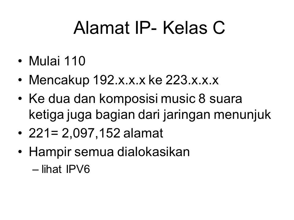 Alamat IP- Kelas C Mulai 110 Mencakup 192.x.x.x ke 223.x.x.x Ke dua dan komposisi music 8 suara ketiga juga bagian dari jaringan menunjuk 221= 2,097,152 alamat Hampir semua dialokasikan –lihat IPV6