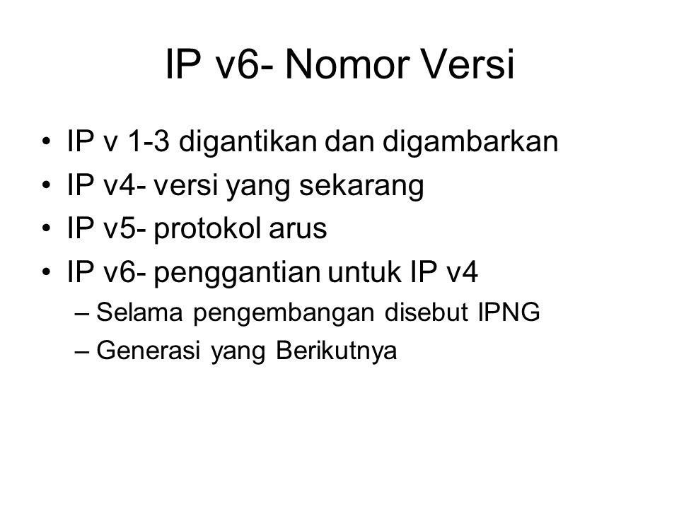 IP v6- Nomor Versi IP v 1-3 digantikan dan digambarkan IP v4- versi yang sekarang IP v5- protokol arus IP v6- penggantian untuk IP v4 –Selama pengembangan disebut IPNG –Generasi yang Berikutnya