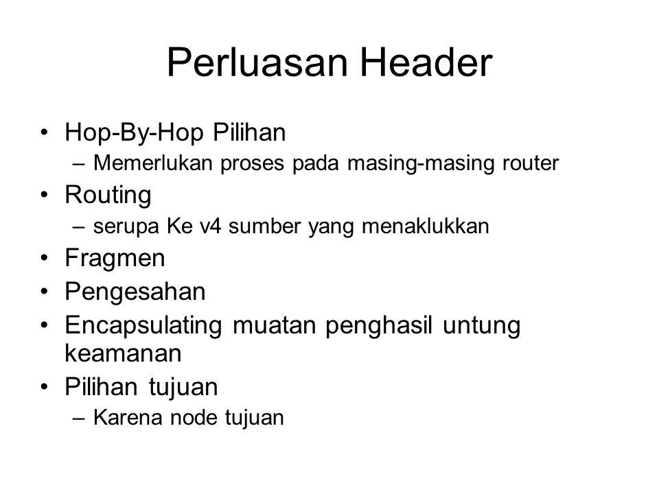 Perluasan Header Hop-By-Hop Pilihan –Memerlukan proses pada masing-masing router Routing –serupa Ke v4 sumber yang menaklukkan Fragmen Pengesahan Encapsulating muatan penghasil untung keamanan Pilihan tujuan –Karena node tujuan
