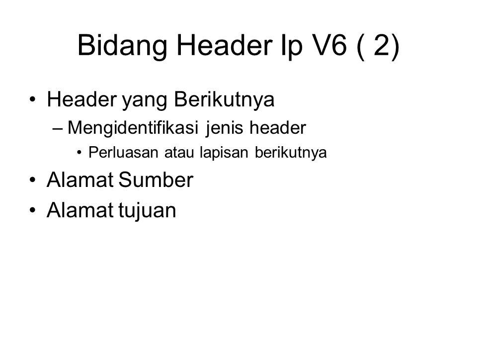 Bidang Header Ip V6 ( 2) Header yang Berikutnya –Mengidentifikasi jenis header Perluasan atau lapisan berikutnya Alamat Sumber Alamat tujuan