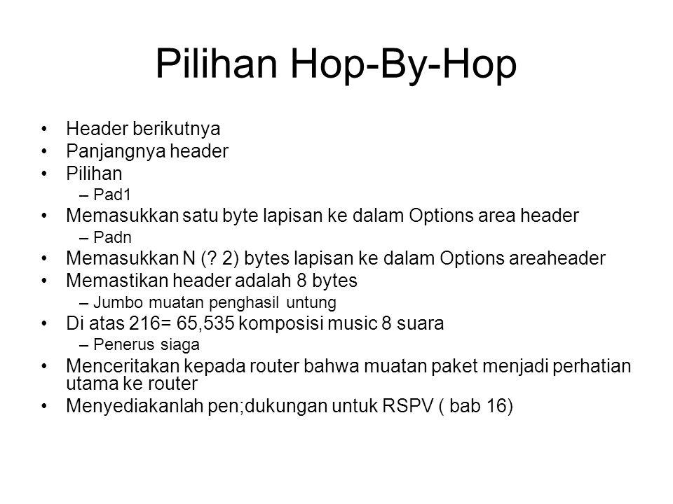 Pilihan Hop-By-Hop Header berikutnya Panjangnya header Pilihan –Pad1 Memasukkan satu byte lapisan ke dalam Options area header –Padn Memasukkan N (.