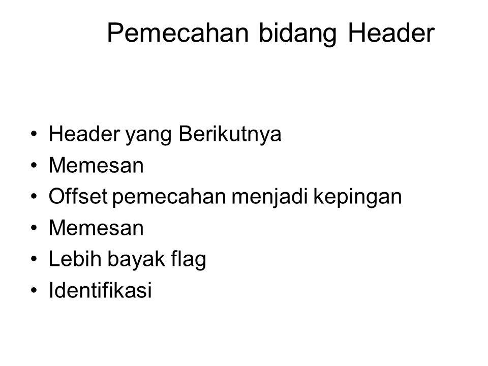 Pemecahan bidang Header Header yang Berikutnya Memesan Offset pemecahan menjadi kepingan Memesan Lebih bayak flag Identifikasi