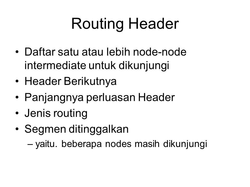 Routing Header Daftar satu atau lebih node-node intermediate untuk dikunjungi Header Berikutnya Panjangnya perluasan Header Jenis routing Segmen ditinggalkan –yaitu.