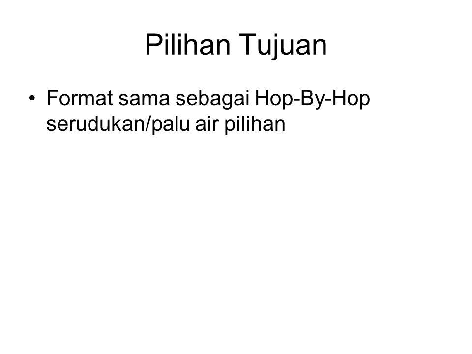 Pilihan Tujuan Format sama sebagai Hop-By-Hop serudukan/palu air pilihan