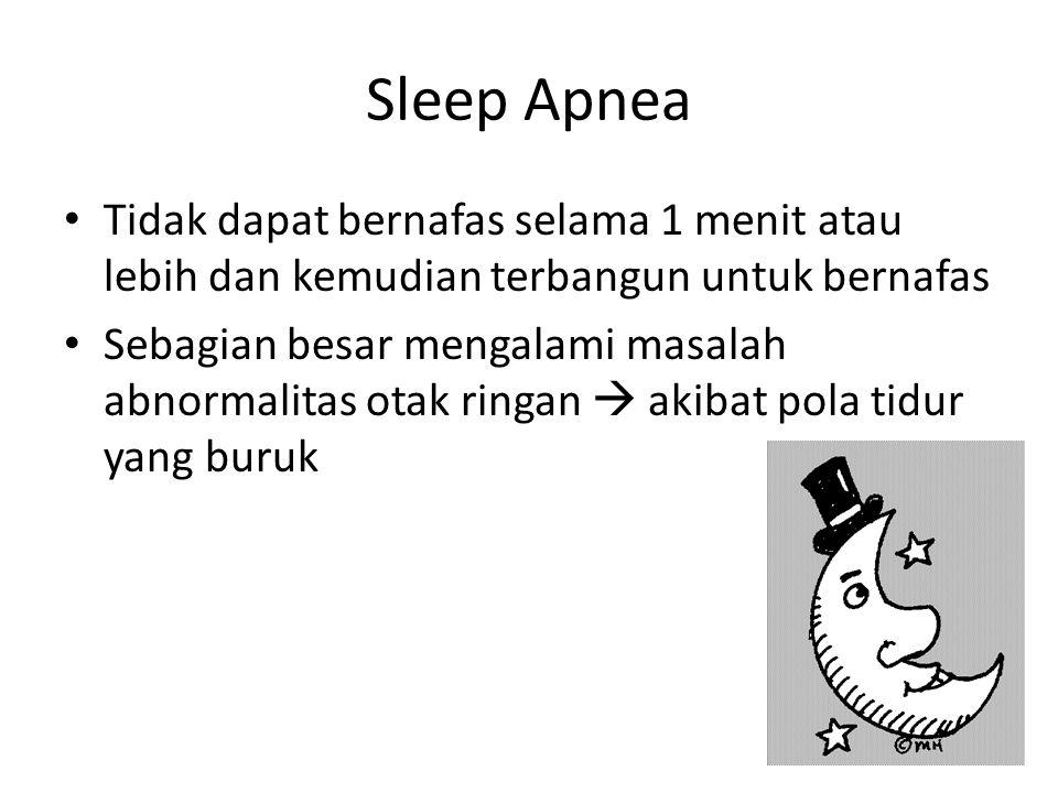 Sleep Apnea Tidak dapat bernafas selama 1 menit atau lebih dan kemudian terbangun untuk bernafas Sebagian besar mengalami masalah abnormalitas otak ringan  akibat pola tidur yang buruk