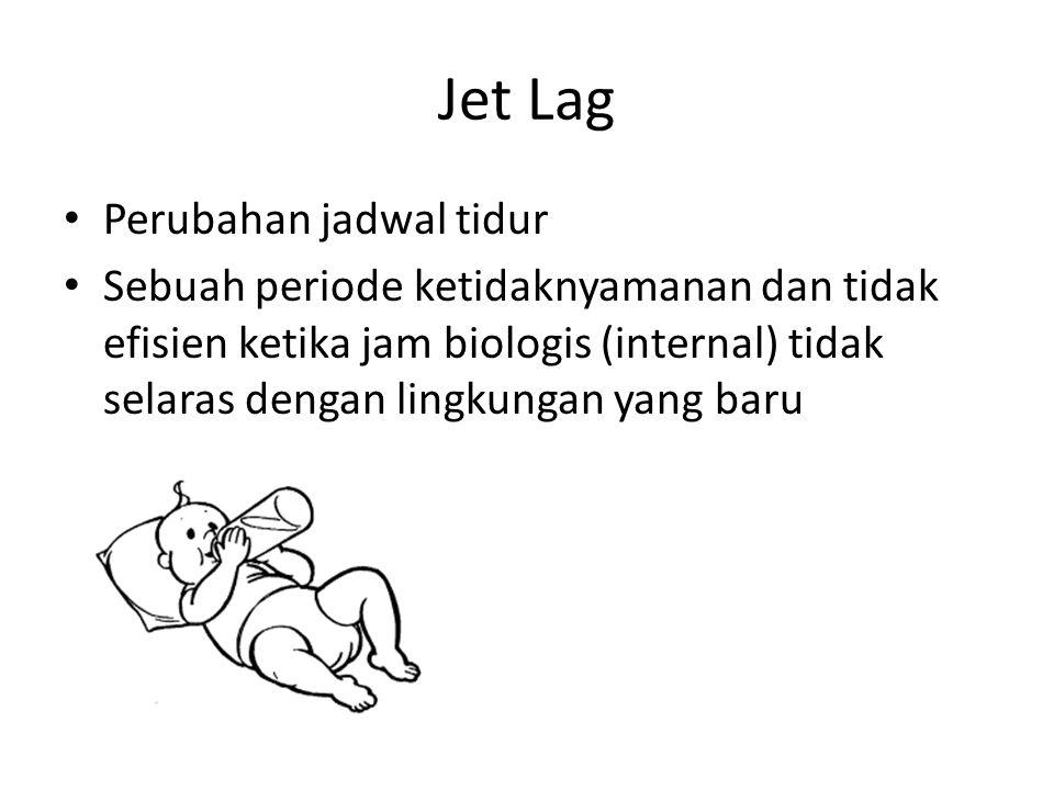 Jet Lag Perubahan jadwal tidur Sebuah periode ketidaknyamanan dan tidak efisien ketika jam biologis (internal) tidak selaras dengan lingkungan yang baru