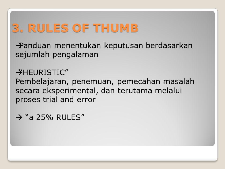 """3. RULES OF THUMB  Panduan menentukan keputusan berdasarkan sejumlah pengalaman  """"HEURISTIC"""" Pembelajaran, penemuan, pemecahan masalah secara eksper"""