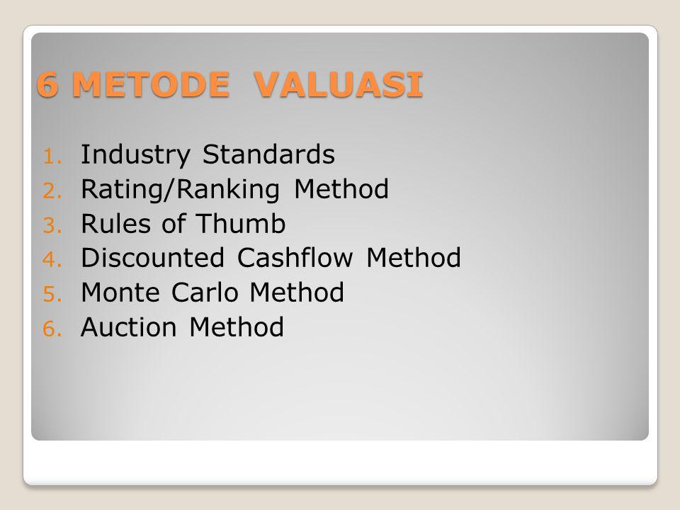 6 METODE VALUASI 1. Industry Standards 2. Rating/Ranking Method 3. Rules of Thumb 4. Discounted Cashflow Method 5. Monte Carlo Method 6. Auction Metho