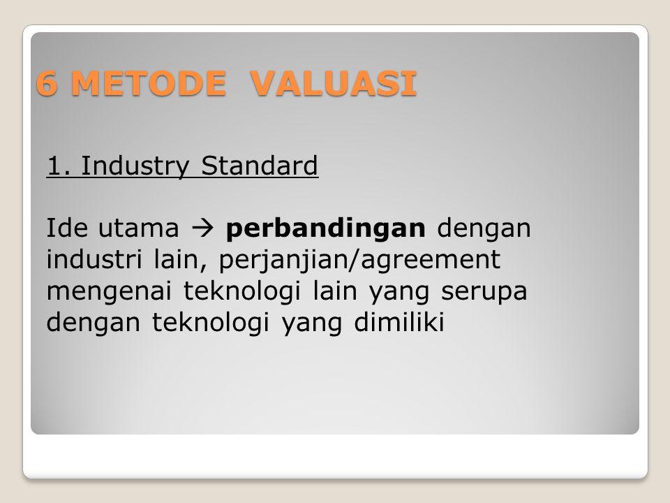 6 METODE VALUASI 1. Industry Standard Ide utama  perbandingan dengan industri lain, perjanjian/agreement mengenai teknologi lain yang serupa dengan t