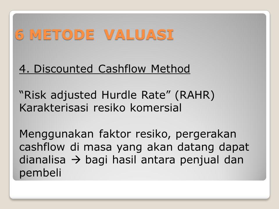 """6 METODE VALUASI 4. Discounted Cashflow Method """"Risk adjusted Hurdle Rate"""" (RAHR) Karakterisasi resiko komersial Menggunakan faktor resiko, pergerakan"""