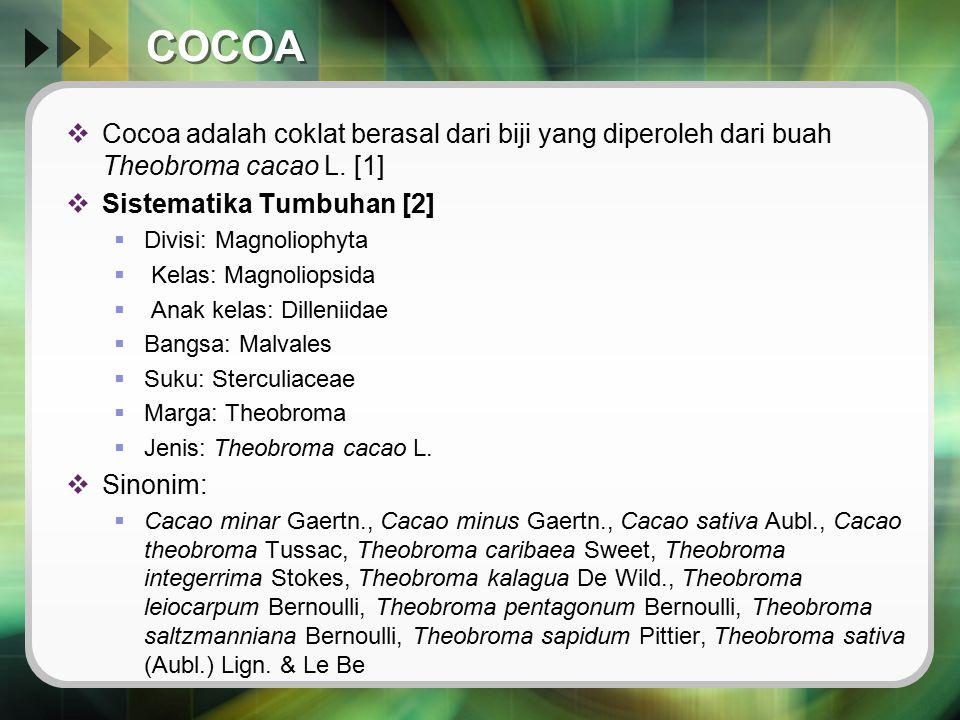 COCOA  Cocoa adalah coklat berasal dari biji yang diperoleh dari buah Theobroma cacao L. [1]  Sistematika Tumbuhan [2]  Divisi: Magnoliophyta  Kel