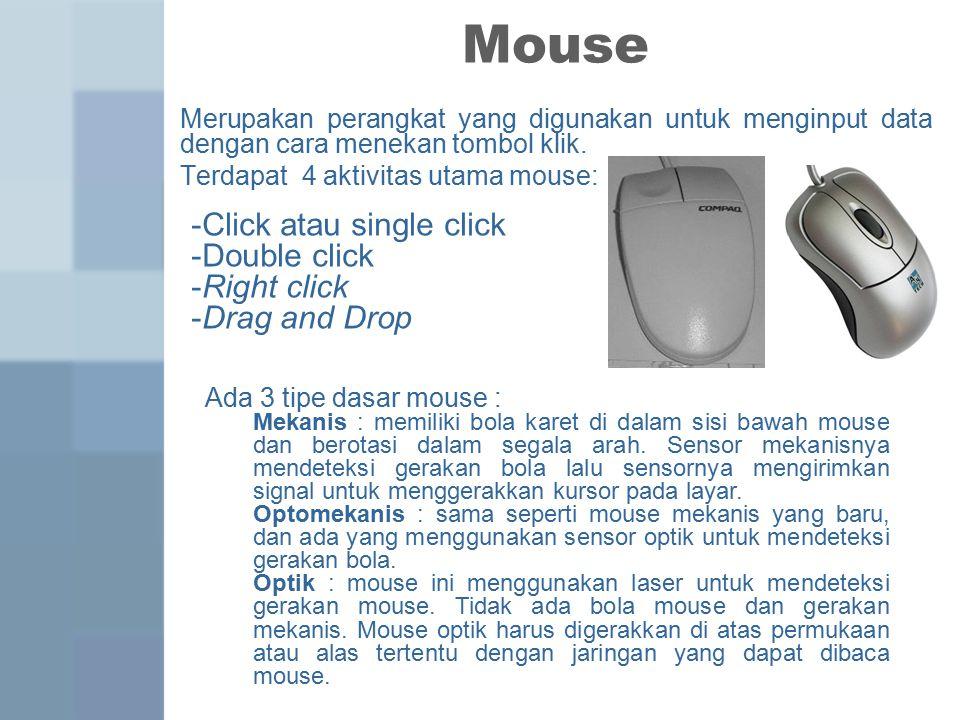 Mouse Merupakan perangkat yang digunakan untuk menginput data dengan cara menekan tombol klik.